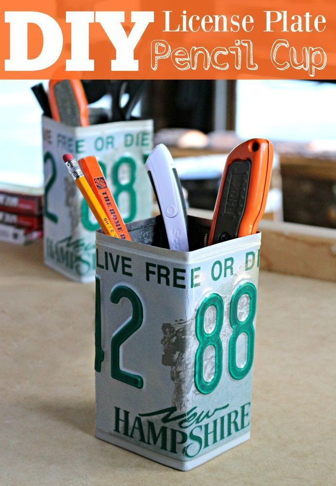 I had a couple of old license plates hanging around and I figured we could put them to use somehow. These pencil cups come in handy. I actually use them in the…