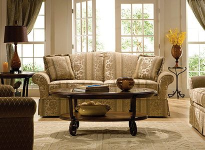 start with the Windsor collection. Dressmaker details like the straight skirt with inverted pleats on the corners help soften the scale of this comfy set, which definitely doesn't skimp when it comes to seating space.  Windsor's neutral color and floral print upholstery provide plenty of inspiration. The classic diamond pattern on the coordinating accent chair is a great companion.