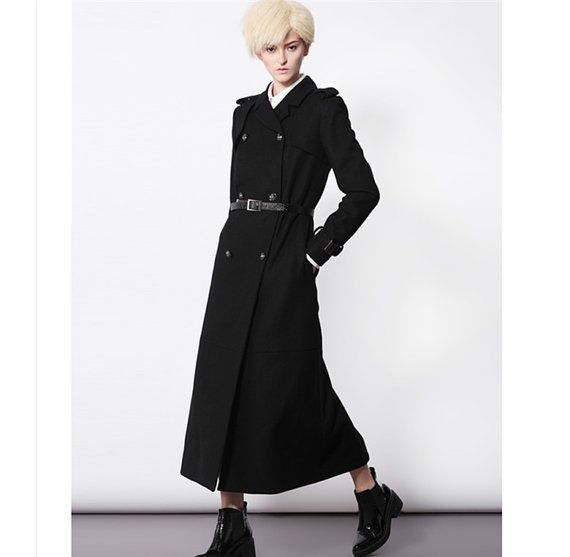 Black wool coat for women with double breasted from BWG studios.
