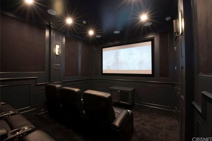 Dark Perfect Small Home Theater Los Angeles CA Home 2 - A perfect little two-tier, seven-seat home theater with spot-on paint job