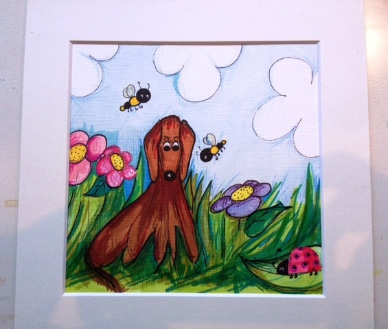 Red Setter drawing illustration with butterflies by emmahiggins, $47.00