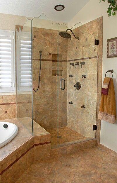 Custom shower 2 pattern layout shampoo soap dish inlay for Bathroom bathtub remodel ideas