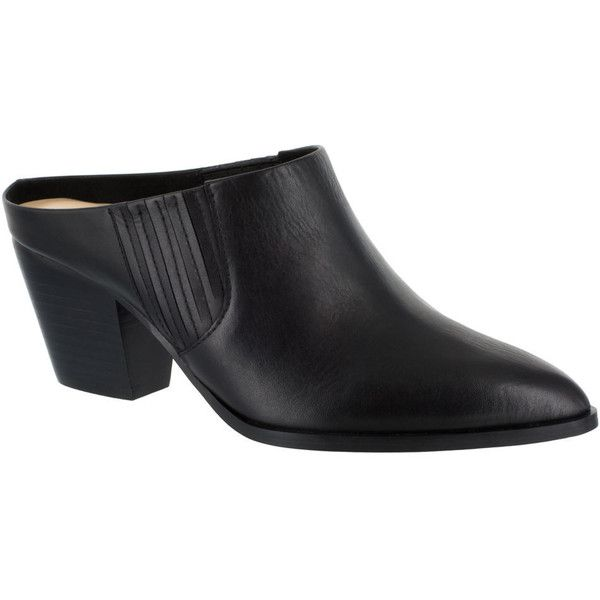 Bella Vita Eden Women's Black Slip On ($115) ❤ liked on Polyvore featuring shoes, black, black slip-on shoes, western shoes, black mule shoes, pointed toe mules and pointy toe shoes