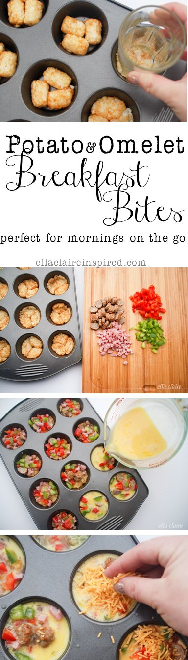 Delicious Potato Omelet Breakfast Bites~ Perfect to keep in the freezer for those mornings on the go!