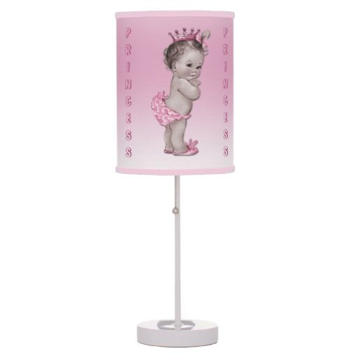Cute Vintage Baby Princess Pink Custom Table Lamps. An original gift for a girl's baby shower.