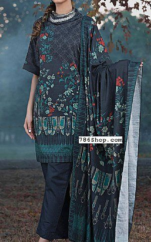 a17f12442b Dark Grey Khaddar Suit | Buy Warda Pakistani Dresses and Clothing online in  USA, UK