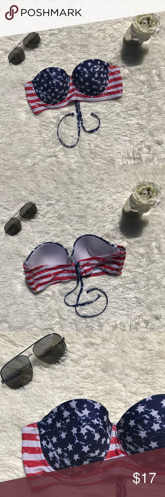 Marilyn Monroe American Flag Bathing Suit Top Marilyn Monroe American Flag Swim Top. A perfect piece to show off your patriotism. Has ties to use around the neck for extra support as well as underwire. Pair with your favorite bottom. Size XL. Marilyn Monroe Swim Bikinis