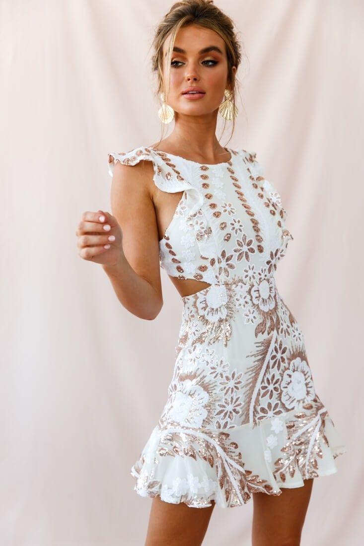 Jackie Pinafore Sequin Dress White Gold Fashion Dresses Fashion Hoco Dresses [ 1100 x 733 Pixel ]