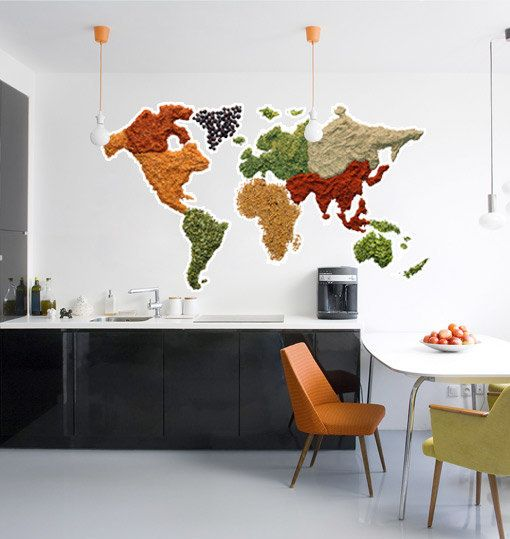 Wall World Map - Spicy World Map Decal. $118.00, via Etsy.