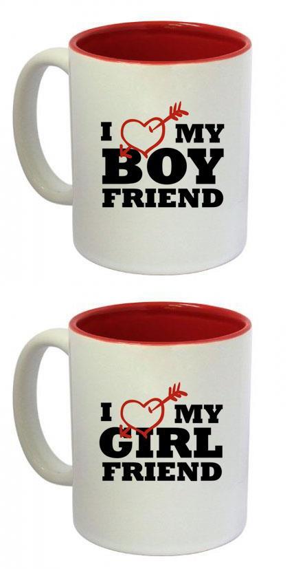 """Canecas do Dia dos Namorados """"I Love My Boyfriend"""" e """"I Love My Girlfriend"""" com interior vermelho - $22 cada"""