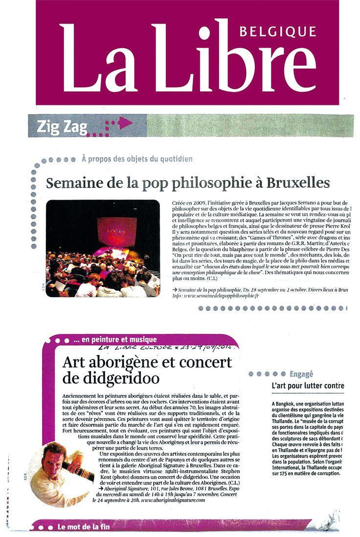 Article de la Libre Belgique dans le supplément culture Zig Zag.