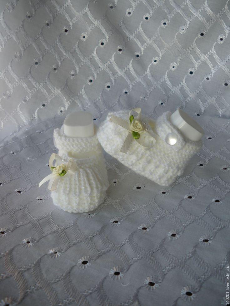 Купить Пинетки для новорожденной - пинетки для новорожденной, для новорожденного, рисунок, белый, шерсть меринос, ангора, фибра