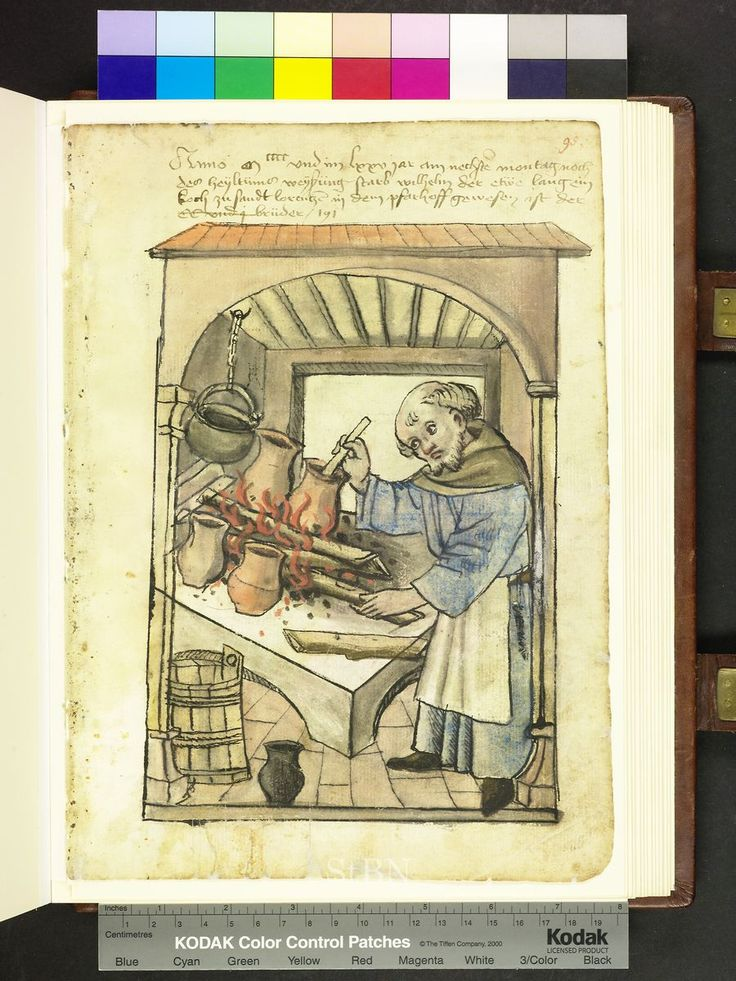 From: Die Hausbucher der Nurnberger Zwolfbruderstiftungen  The cook is facing the hearth, blaze on the logs and stir with a wooden spoon in a jar of clay, which lies between the logs. Over the stove, an iron kettle hanging on a chain, while standing on the floor creators and pitcher. The kitchen is framed by a framing pillar architecture, the roof is red. 1475