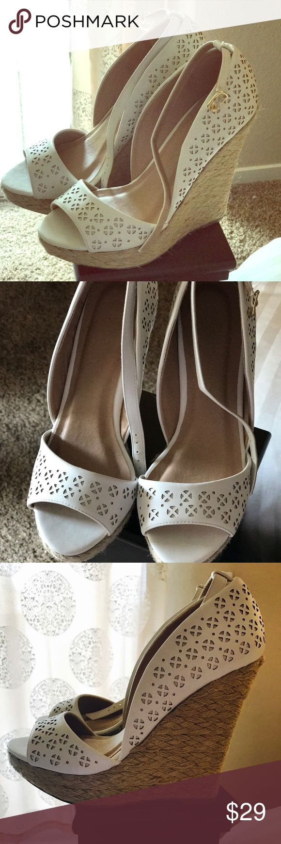 Cute cream wedges 😍 So pretty wedges wild diva...I bought here at Poshmark but unfortunately didn't fit me.. really nice condition... make a bundle and make me an offer :) Wild Diva Shoes Platforms