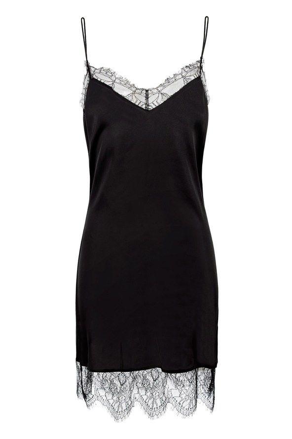 Zara black lace slip dress