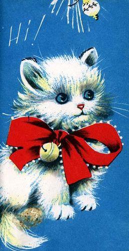 "♥ Sweet Vintage Christmas Kitten ♥ ""Hi!"""