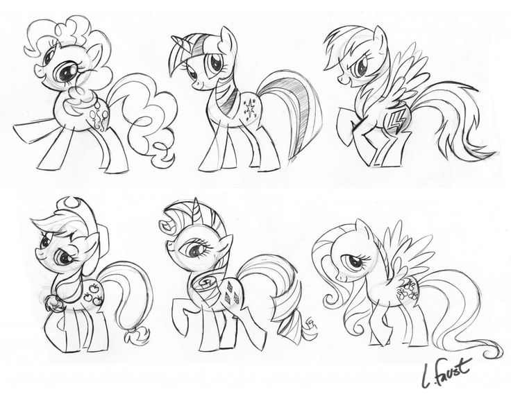Original drawings of My Little Pony: Friendship is Magic characters by Lauren Faust. http://msmagazine.com/blog/blog/2010/12/24/my-little-non-homophobic-non-racist-non-smart-shaming-pony-a-rebuttal/