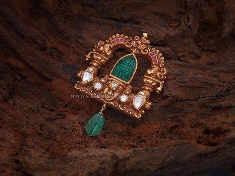 Gold Antique Lord Balaji Pendant Designs, Gold Pendant With God Balaji Image.