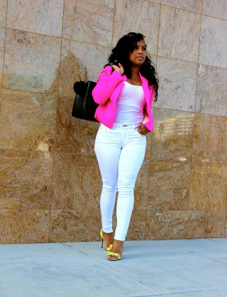 Wearing - Hot pink blazer, white tank top, Rag & Bone jeans, Gucci heels, Chanel handbag