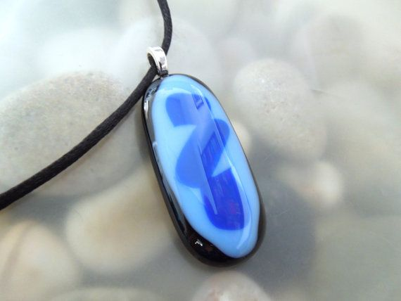 Sky Blue with Royal Blue Design Fused Glass by AnoisJewelry