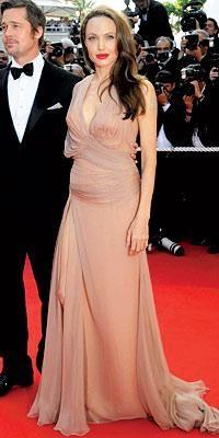 Who made Angelina Jolie's nude long dress? Dress – Versace Atelier