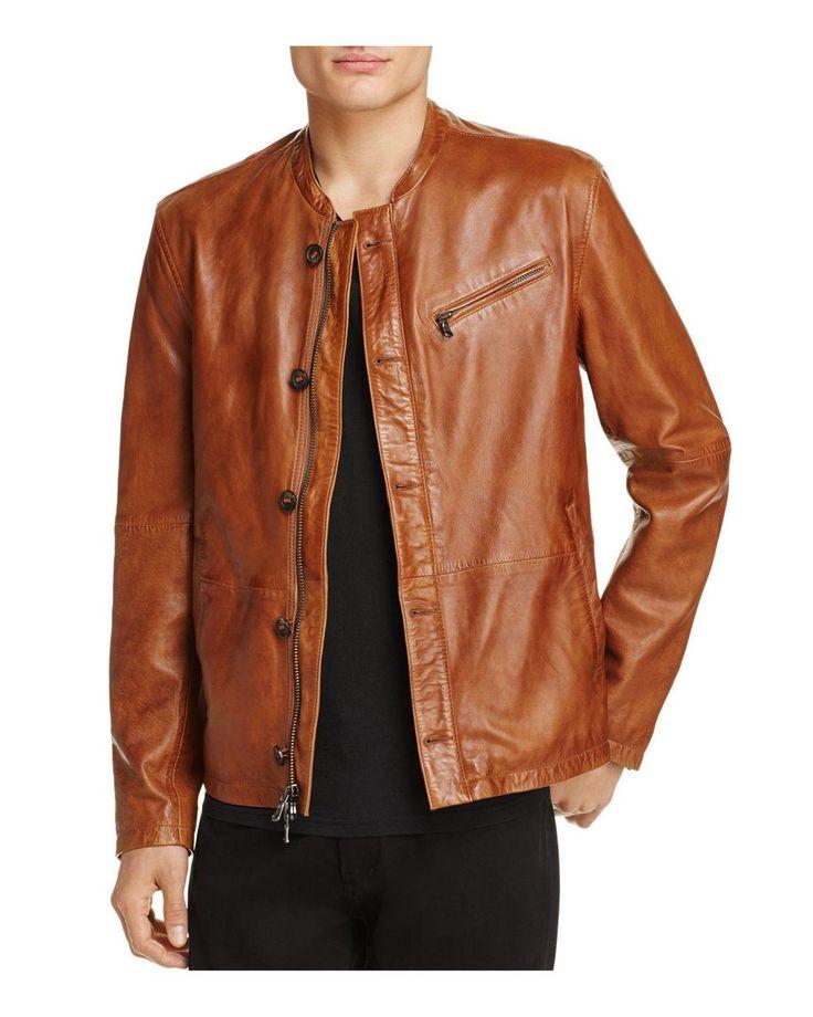 John Varvatos | Brown Leather Moto Jacket for Men | Lyst