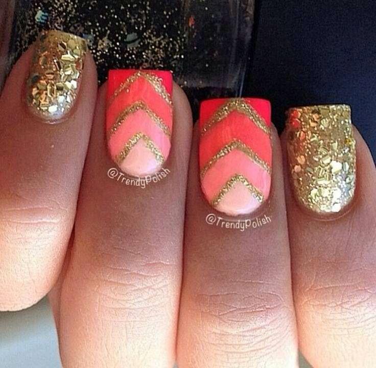 Orange, Pink And Gold Nail Design