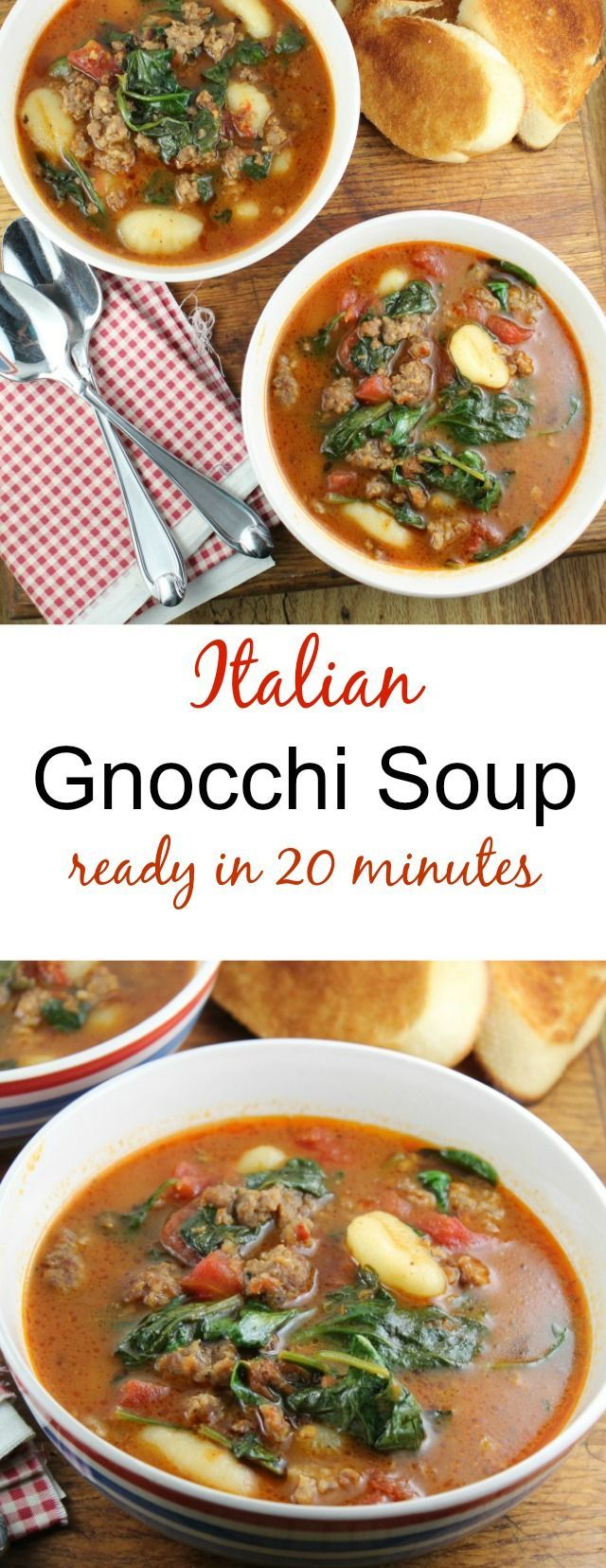 Italian Gnocchi Soup Recipe found at missinthekitchen.com(Italian Soup Recipes)