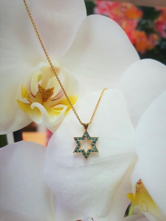 Mia Diamonds 14k Yellow Gold Star of David Pendant