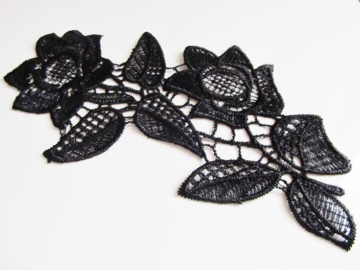 Applique dentelle Fleurs couleur noire à coudre ou à coller : Déco, Customisation Textile par sylvia21