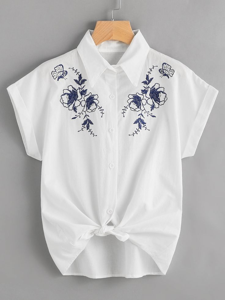 Shop Embroidered Knot Front Cuffed Shirt online. SheIn offers Embroidered Knot Front Cuffed Shirt & more to fit your fashionable needs.