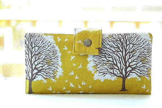 Womens clutch Wallet handmade custom clutch in beautiful yellow tree by happykathy What a beautiful well made wallet!Take a look at the second and third photos!