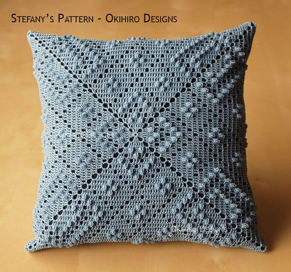 Stefany's Pattern 12 Crochet Square Pillow MADE by okihirodesigns