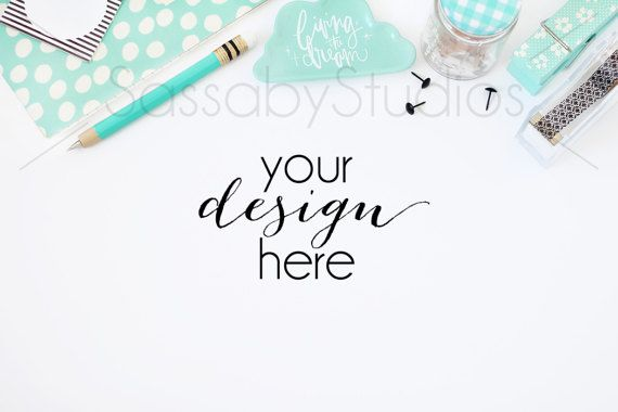 Aqua Office Desk Styled Stock Photography / by SassabyStudios