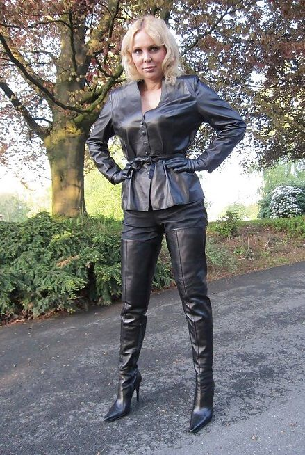 Leather latex fetish boots