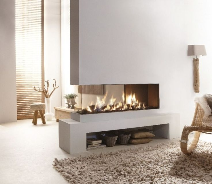 Waiting room Gas fireplace / 3 sided / closed hearth / contemporary LUCIUS 140 CR 2/3 GLASS Element4 B.V.
