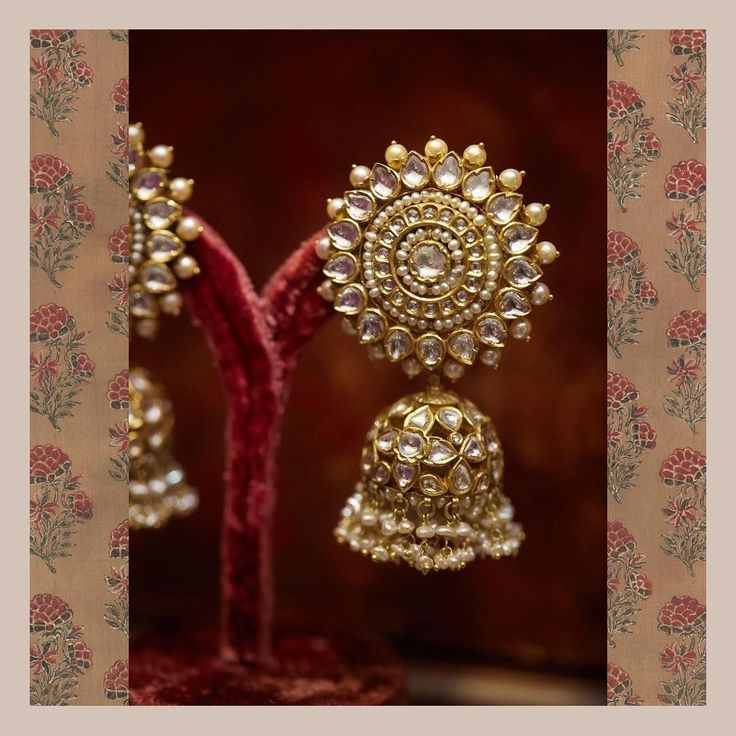 Classic Sabyasachi jhumkas from the Sabyasachi Heritage Jewelry collection, crafted in 22k gold with uncut diamonds and pearls. For all jewellery related queries, kindly contact sabyasachijewelry@sabyasachi.com #Sabyasachi #SabyasachiJewelry #TheWorldOfSabyasachi #GoldJewelleryPakistani