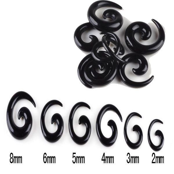 Wholesale 12Pcs/lot Black Spiral Ear Tapers Piercing Body Jewelry Lot Acrylic Ear Tapers Fake Ear Expander Plug Tunnel Kit