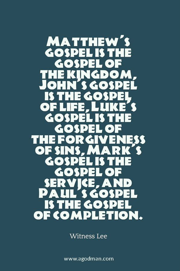Aspects of the Gospel as seen in the Gospel of Matthew, Mark, Luke, John, and…