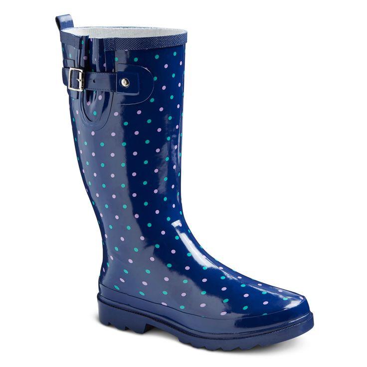 Women's Polka Dot Rain Boots - Navy (Blue) 10