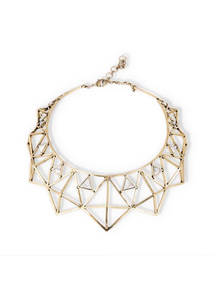 Brass Geometric Choker Necklace by Kate Hewko