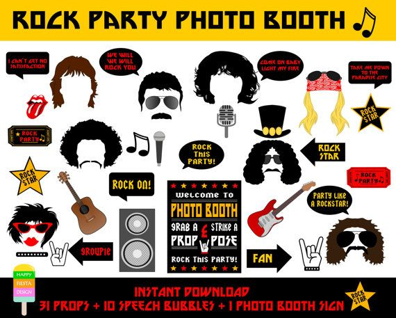 Rock Party Photo Booth Props–42 Pieces (31 props,10 Speech Bubbles,1 Photo Booth Sign)-Printable Rock Star Props-Instant Download