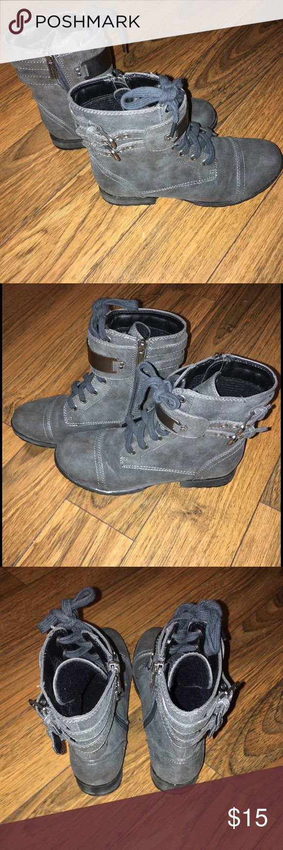 Charcoal Combat Boots; Size 7 Zip up on side and lace up. Worn twice. Great condition. Price Firm On This Listing Shoes