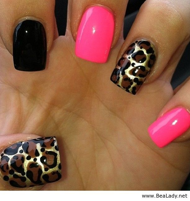 Pink and black nails with leopard print