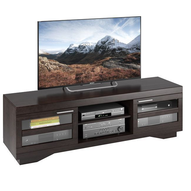CorLiving Sonax Granville Wood Veneer TV Bench, (for TVs up to 80 inches) (Mocha - Stained/Wood Finish/Brown Finish/Black Finish)