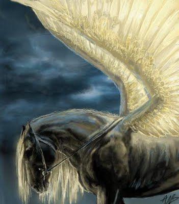 .: Angel, Fantasy, Pegasus Unicorns, Mythical Fairies, Pegasusunicornsmag Hors, Horses, Amazing Artworks, Mythical Hors, Black Hors