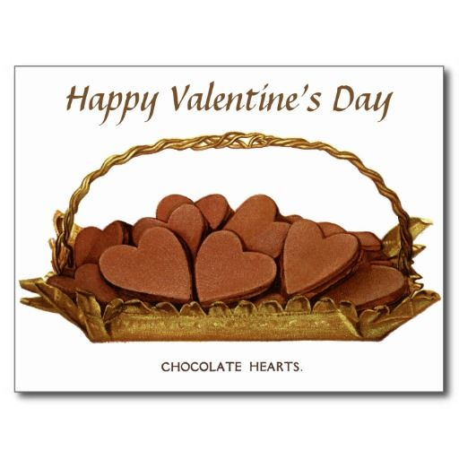 Vintage Basket of Chocolate Hearts Valentine Postcard - #zazzle