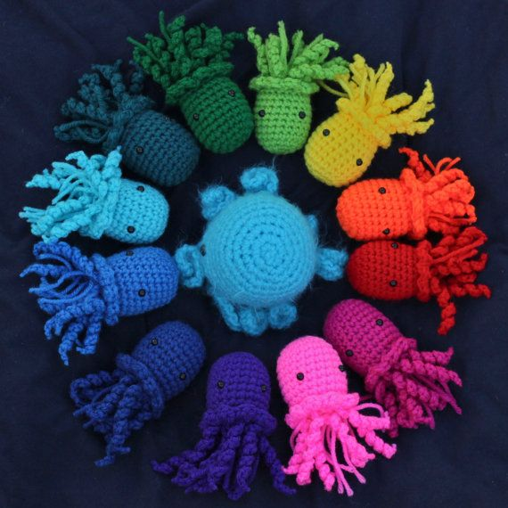 Two Jellyfish Amigurumi Crochet Stuffed Animals - Choose your own colors on Etsy, $22.00