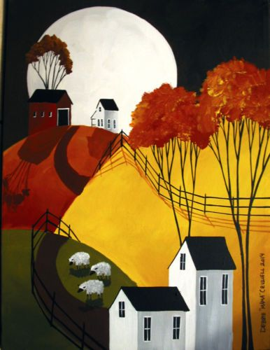 ORIGINAL-painting-folk-art-country-landscape-Autumn-moon-sheep-primitive-farm