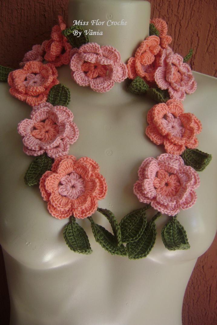 Cachecol azaleas (no pattern) #crochet